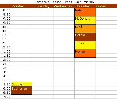 Fall Lesson Times