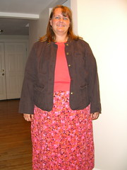 Option 1: Salmon skirt, top and brown jacket