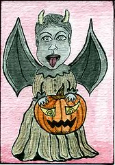 evil pumpkin baby ACEO