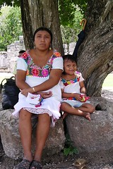 Maya portrait woman and her child traditional dress Yucatan Quintana Roo Mexico