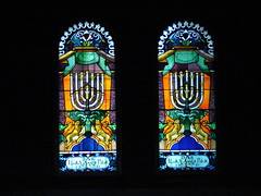 Stained glass windows at the Tempel Synagogue photo by Frogdeck