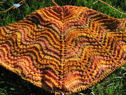 Autumn Waves Shawl - in progress