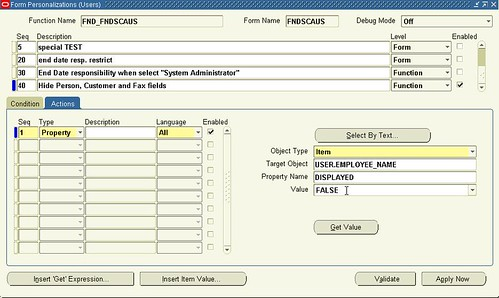 Oracle Form Personalization (Users) Actions tab Actions seq 1 final