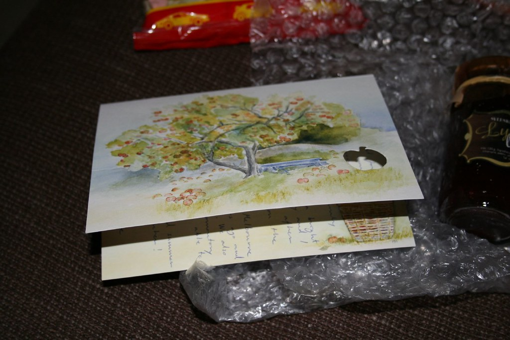 A lovely apple tree card w/ an apple shaped cut out