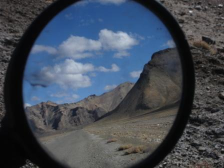 View of the road from Tajiki border to Murgab, Tajikistan after the Ak-Baital Pass