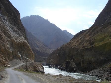 The road from Khorog, Tajikistan to Kala-i-Khumb, Tajikistan