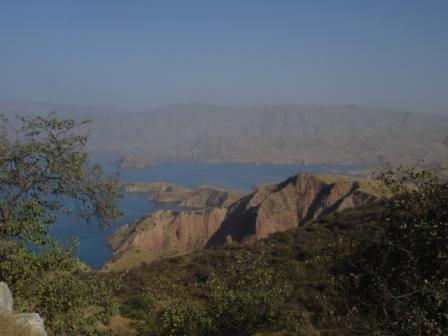 The lake formed by the Nurek Dam near Dushanbe, Tajikistan