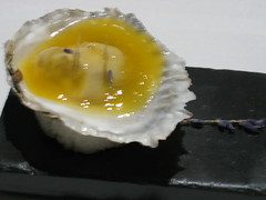 Oyster, fig and passionfruit