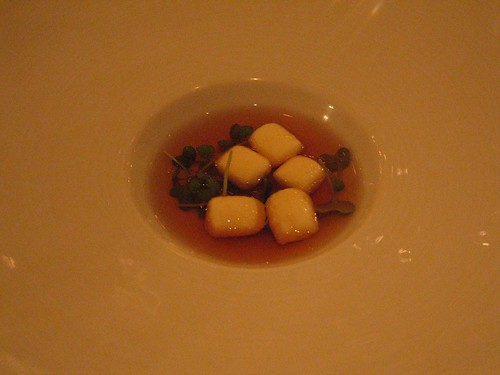IdeasinFood - Potato Gnocchi w/ Foie Gras Consumme, Red Mustard, & Argan Oil
