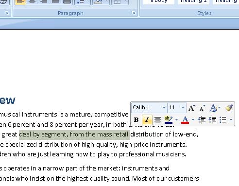 Office 2007 contextual popups