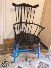 Chair repaired and blue painted