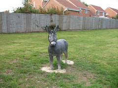 The full sized plastic cow has vanished from the pub garden. This three foot high plastic donkey remains.