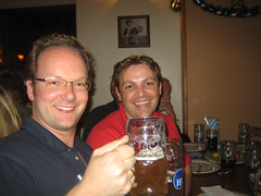 Harald and me enjoying the Weissbier