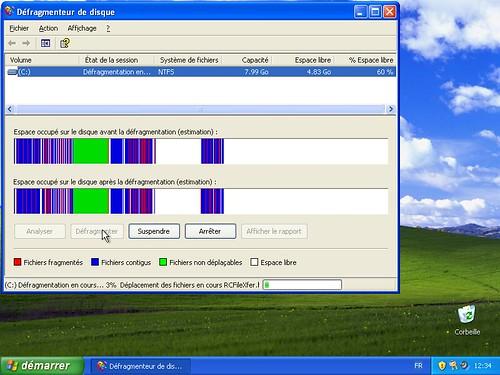 Défragmenteur de Windows XP