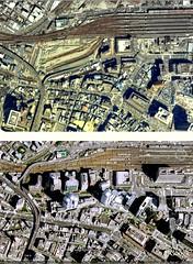GoogleEarth 西梅田変遷  Nishi-Umeda_1979-2005