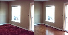 The living room, before and after