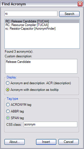 Acronyms plugin for Windows Live Writer