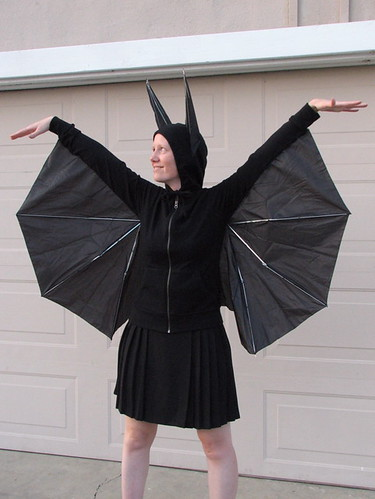 After getting them nicely lined up stitch them on and then trim off the excess fabric. & How to Build a Better Bat Costume | Evil Mad Scientist Laboratories