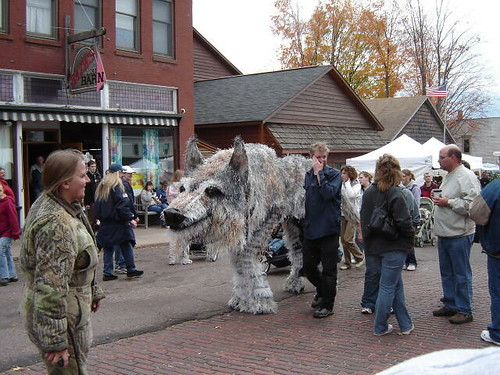 Big wolf puppet.
