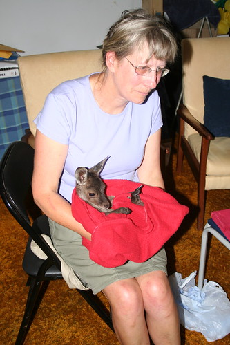 Pam with a joey