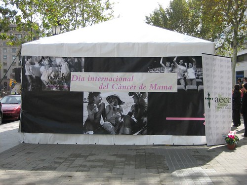 Breast Cancer awareness stand in Plaça Catalunya, Barcelona