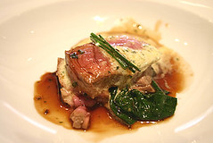 Veal with wasabi butter and wilted spinach