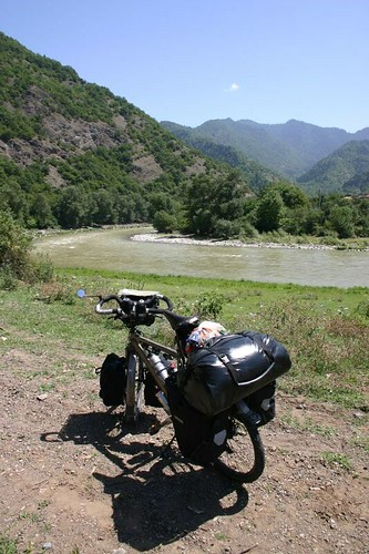 Nice cycling along the Mtkvari River, Western Georgia.