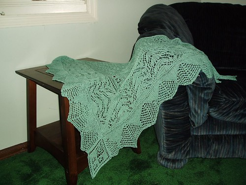 Modified Mystery Shawl posing