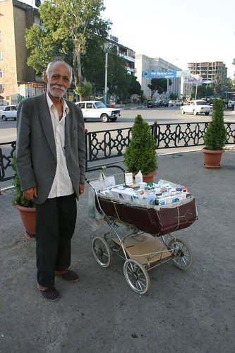 Cigarette selling man in Ganca, Azerbaijan.
