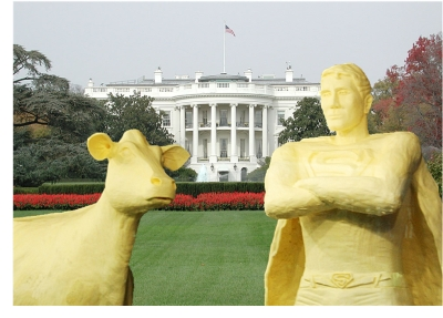 Iowa Butter Cow and Superman Guard the White House