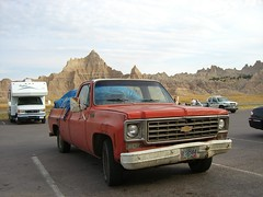 Red truck in the badlands