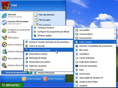 Lancement du défragmenteur sous Windows XP