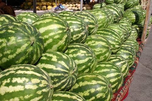 Piles of wonderful watermelons...Margilan Bazar, Fergana Valley.