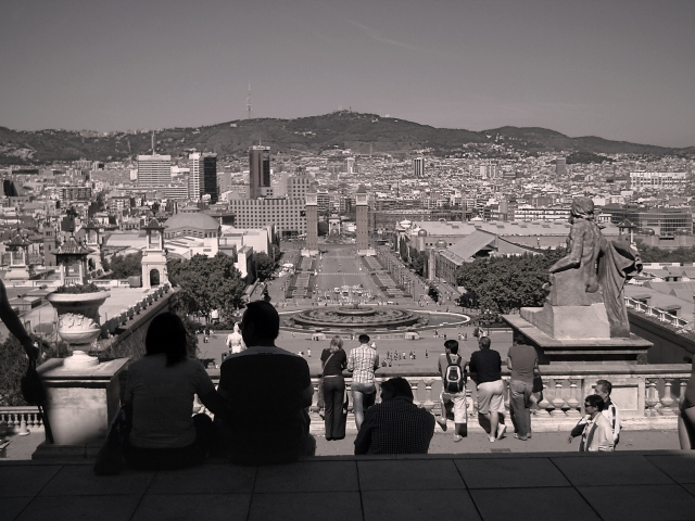 Plaza España as seen from MNAC in Montjuic Barcelona