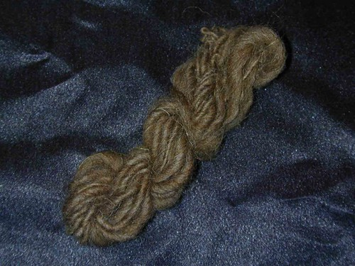 My first hand spun yarn on the drop spindle