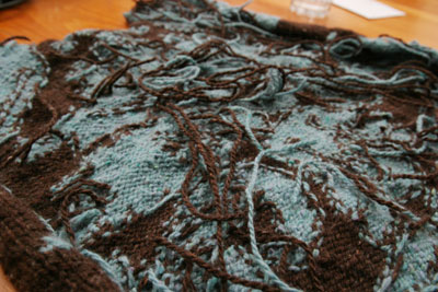 Front of Brocade, ends to be woven in