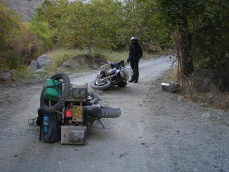Both of the bikes fall on the road from Kala-i-Khumb, Tajikistan to Dushanbe, Tajikistan