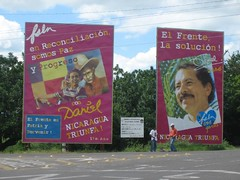 Daniel Ortega's billboards. Literally all over the country