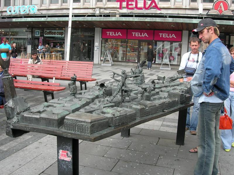 市中心的一个街头小雕塑