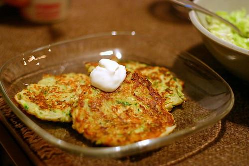 zucchini latkes, wasabi sour cream