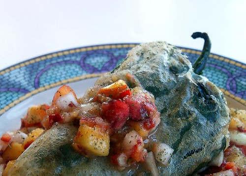 Paper Chef 20: Chile Rellenos with Stone Fruit Salsa
