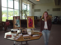 Kristin displaying her artwork at the Letters to Mozart show in Steamboat Springs