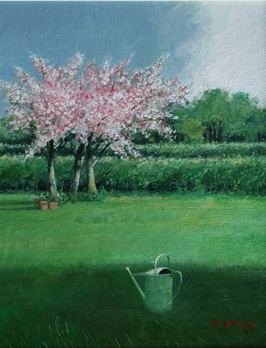 Cherry Trees After Rain (Oil on Board)