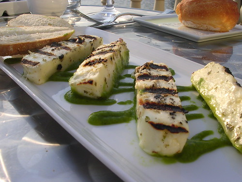 Grilled Halloumi Cheese with Roasted Hot Pepper and Extra Virgin Olive Oil