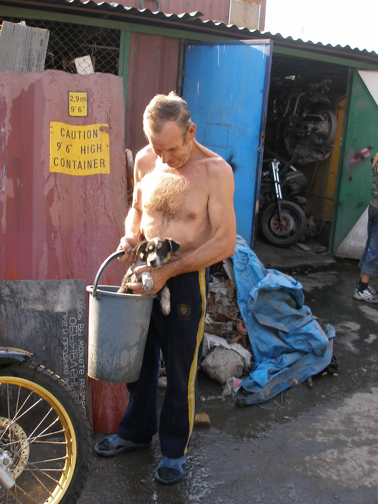 Man washes puppy at the Motorbike garage, Almaty