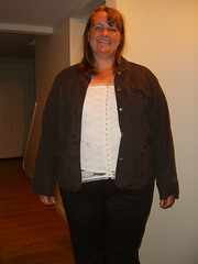 Option 2: Brown pants and jacket with lace top