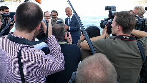 Bürgermeister Ole von Beust bei Fototermin an der Binnenalster
