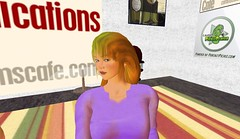 Kami Huyse in the Second Life Comms Cafe