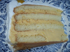 a slice of mango mousse cake