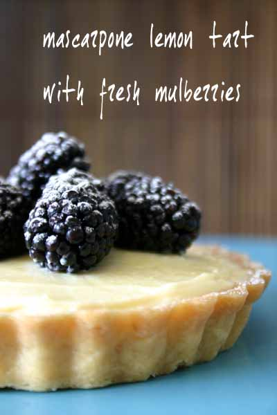 mascarpone tart with fresh mulberries